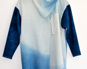 Artistic Top / Cubist Women's Top / Indigo Dyed Tailored Top / Ombre Fine Wool Tunic / Asymmetrical Loose Shirt