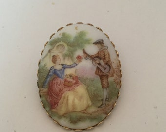 Vintage brooch, Fragonard jewelry, Fragonard Brooch, gold tone setting