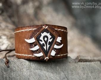 Warcraft bracelet. Warcraft handmade. Horde bracelet. Orc bracelet. Horde symbol. Leather bracelet. Warcraft merchandise.