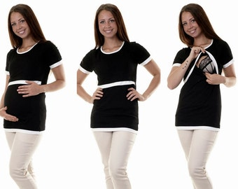 Bellys breastfeeding shirt 3 in 1 black maternity wear