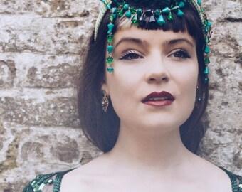 Green  plastic headband with vintage green 40s / 50's beading festival / theatre / cabaret