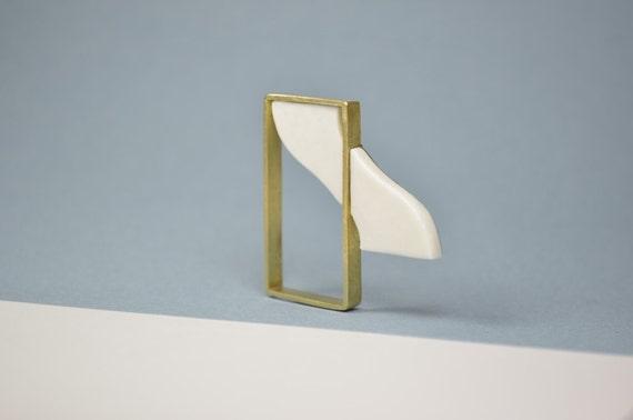 Curtain, porcelain brooch. Brass, stainless steel. Ceramic jewelry, minimalist, abstract, geometrical jewel. White golden window.