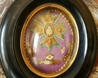 French Reliquary Three Saints Relics Shrine  -Paperolles Relic