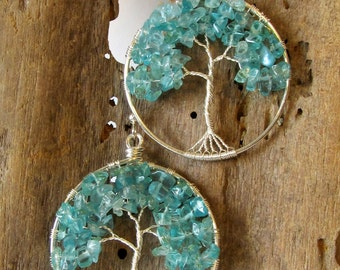 Apatite Tree of Life Earrings, Handmade Sterling Silver Wire Tree Earrings, Unique Gift for Her, Nature Inspired Boho Dangle Earrings