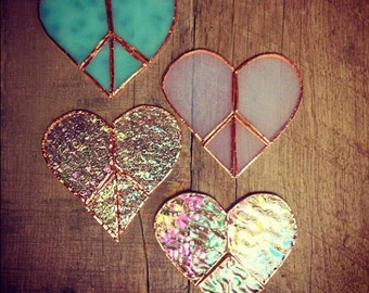 Stained Glass Peace Heart