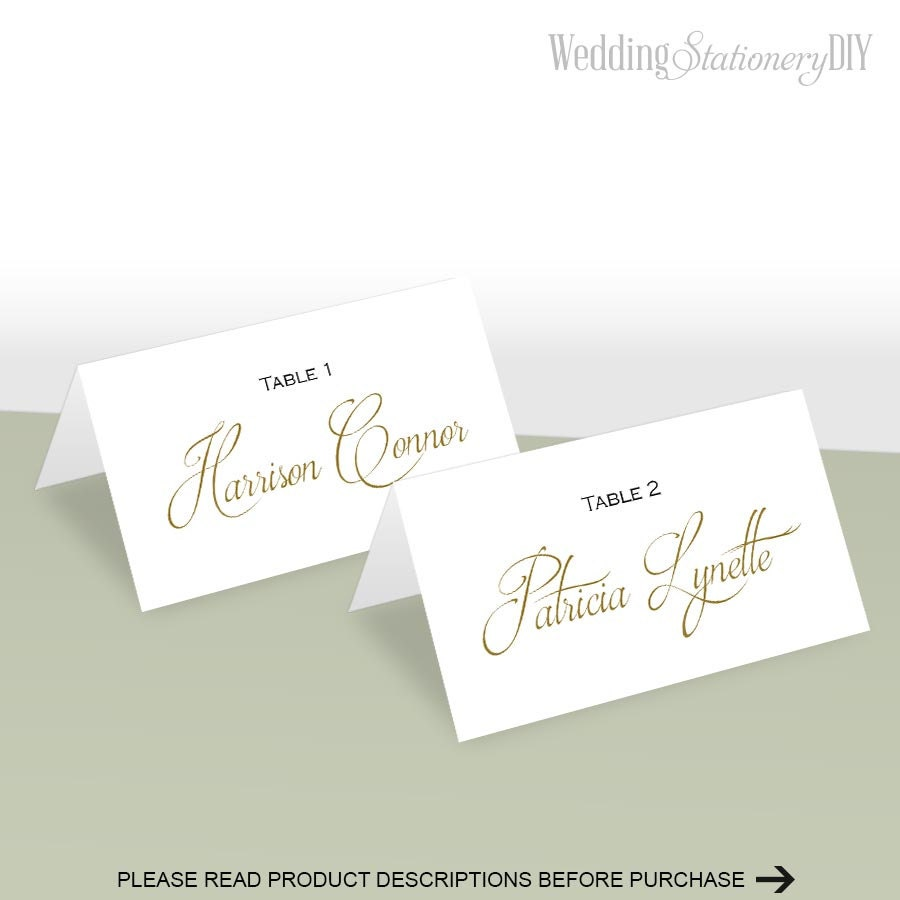 Simple elegance place card template place cards wedding diy for Place card for wedding