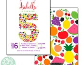 Fruit Invitation | Fruity Tutti Invitation | Fruit Party Invitation - 5x7 with reverse side