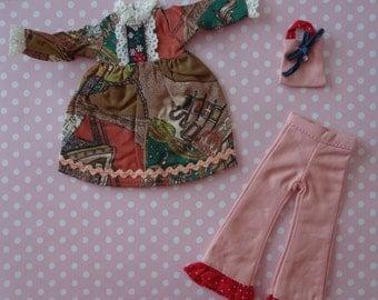 Country Ruffle Dress & Pants Set * Blythe * Pullip *