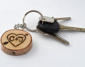 Custom Couples Keychain Wood Burning Heart with Initials and Date Wooden Pyrography