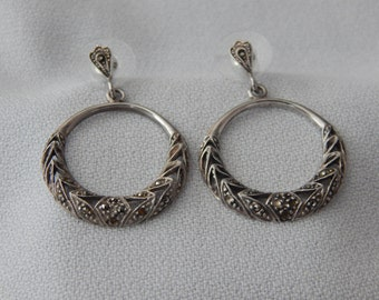 Vintage Sterling Silver Hoop Earrings with Marcasite