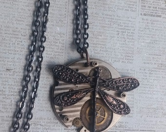 Dragonfly Necklace, Steampunk Dragonfly Necklace, Antique Watch Plate Dragonfly Necklace, Dragonfly Jewelry, Steampunk Necklace, Steampunk
