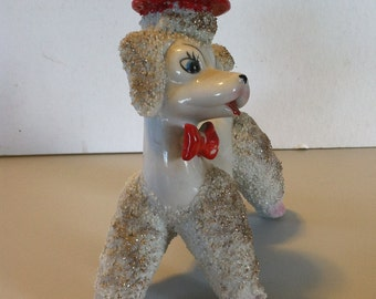 Vintage 1950's Spaghetti Poodle Figurine - White with Gold Accents, Red Hat and Red Bow.