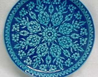 LARGE TURQUOISE PLATE, Turkey, Vintage, Collectible, Useful Plate, Turkish Intricate Design