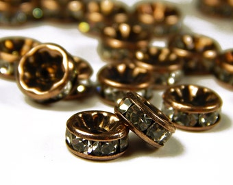 10 Pcs - 8mm Czech Crystal Rhinestone Rondelle Beads - Copper - Spacer Beads - Czech Beads - Jewelry Supplies