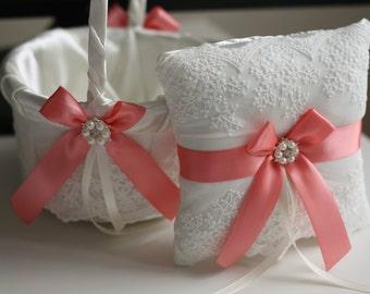 Coral Wedding Basket for Petals / Coral Bearer Pillow / Coral Flower Girl Basket / Ivory Coral Basket / Lace  Ring Bearer Pillow Basket Set