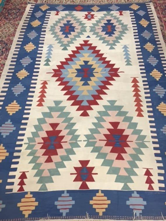 6' x 9' Turkish Kilim Oriental Rug - Hand Made - 100% Wool - Two Sided