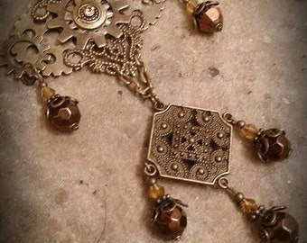 Industrial Steam Punk Sprockets Gears Chain & Beads Pendant Only