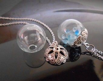 1 Glass globe necklace Sterling silver chain Heart Bead cap 18 mm Glass Orb Dome Bubble Bottle Rice Vial Terrarium necklace Jewelry supplies