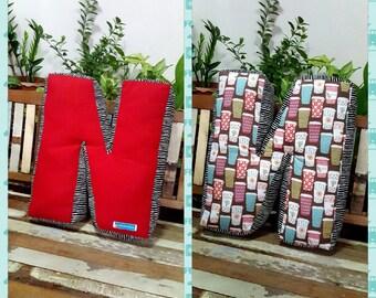 Pillow, Alphabet Letter Pillow, Single Letter Fabric Cushion - Any Custom Letter N