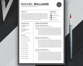 Professional Resume Template, CV Template, US Letter, A4, Word, Modern, Creative, Simple Resume, Instant Download, 'RACHEL'