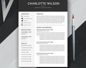 Professional Resume Template, Cover Letter, CV Template, US Letter, A4, Word, Simple, Modern, Creative Resume, Instant Download, 'CHARLOTTE'