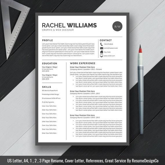 Simple Premium Resume Cv Design Cover Letter Template: Professional Resume Template CV Template Cover Letter