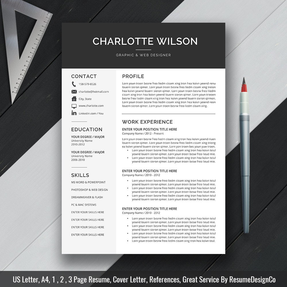 resume design professional resume template cv template cover letter ms word for mac pc simple modern creative resume instant charlotte