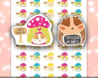 Cute Hamster Pet Stickers / Printable Planner Stickers for Erin Condren, Happy Planner, Filofax, Kikki K, Plum / Instant Download PDF, JPG