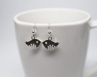 Cute little silver plated bird charm earrings