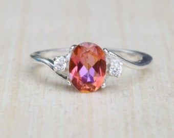 Anastasia Topaz Ring, Peach Topaz Ring, Pink Ring, Orange Ring, Sterling Silver Ring, Blush Topaz Ring