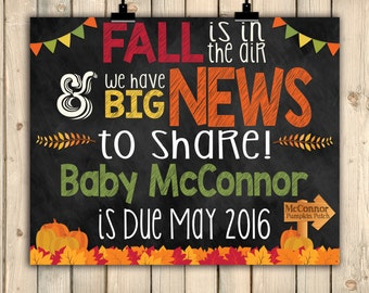 Fall Pregnancy Announcement Sign, Chalkboard Baby Poster, Mommy Is Due, Big News to Share, Pumpkin Pregnancy, Fall In Air, Baby Due, Digital