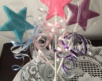 PRINCESS Wand Lollipop(12 qty) Large Star Wands/Chocolate Star Wands/Fairy Princess Party/Cinderella Party/Disney Frozen Party/Magical Wand