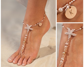 Personalized rose gold jewelry, Starfish Barefoot sandals, Wedding gift, Unique gift, Personalized Womens anklet, Initial Gift for Women