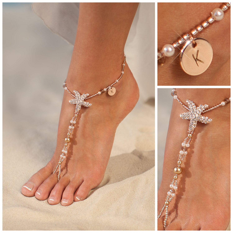 Personalized rose gold jewelry starfish barefoot sandals for Rose gold personalized jewelry