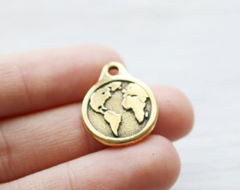 Set of 5, Gold Earth Charm, Globe Charm, World Pendant, Planet harm, Antique Gold, Pewter Charm, 058TCA
