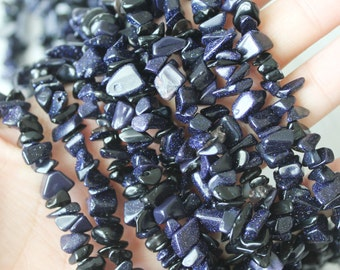 Chip Beads, Blue Goldstone, Nugget Beads, Sparkle Beads, Starry Night Beads, Galaxy Beads, Cosmo Beads,