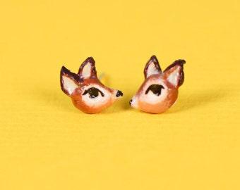 Deer Polymer Clay Silver Earrings