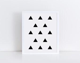 Black and White Geometric Wall Art, TRIANGLE Art, Triangles Print, Geometric Art, Modern Art Print, Poster Print, Minimalist Art, Printables