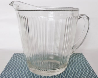 Ekco Vintage Clear Glass Pitcher - Collectible Ribbed 4 Cup Pitcher - Ribbed Clear Glass Pitcher - Minimalist Pitcher - Mid Century Pitcher