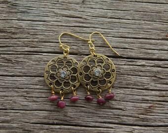 Pink Tourmaline Earrings / Gold Flower Earrings