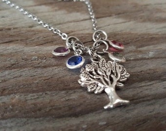Family Tree Necklace - Personalized Gift - Family Necklace - Family Tree Birthstones