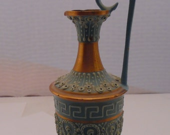 Vintage Hand-Made Hand-Painted in Greece Brushed Copper Ewer Jug