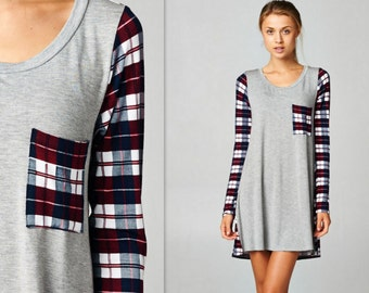 Plaid Checkered Tunic Dress