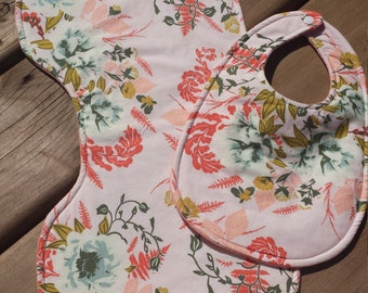 Vintage Pink Floral Bib and Burp Cloth Set, Baby Girl Set