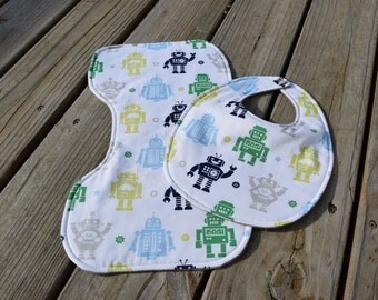 Baby Boy Robots Bib and Burp Cloth Set