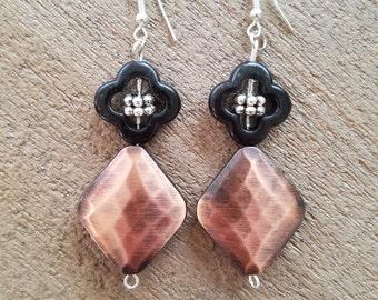Copper Diamond Clover Earrings