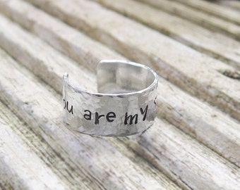 Personalized ring, you are my sunshine, hand stamped, silver message jewelry, gift for him, gift for her, best friend gift, adjustable ring