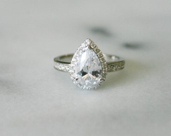 Halo Engagement Ring, Pear Cut Synthetic Diamond, Engagement Rings, Sterling Silver Ring,Halo Style Engagement Ring