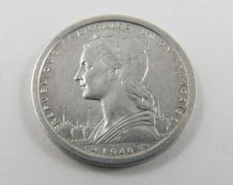 St.Pierre & Miquelon 1948 One Franc Coin.