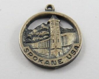 Spokane Washington USA Sterling Silver Charm of Pendant.
